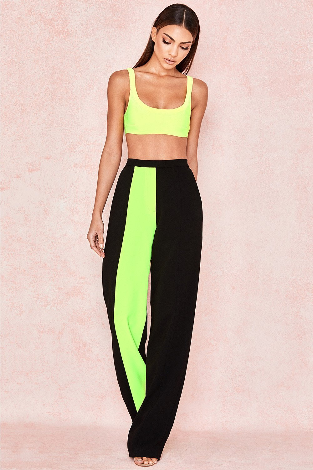Neon Yellow Colour Block Trousers