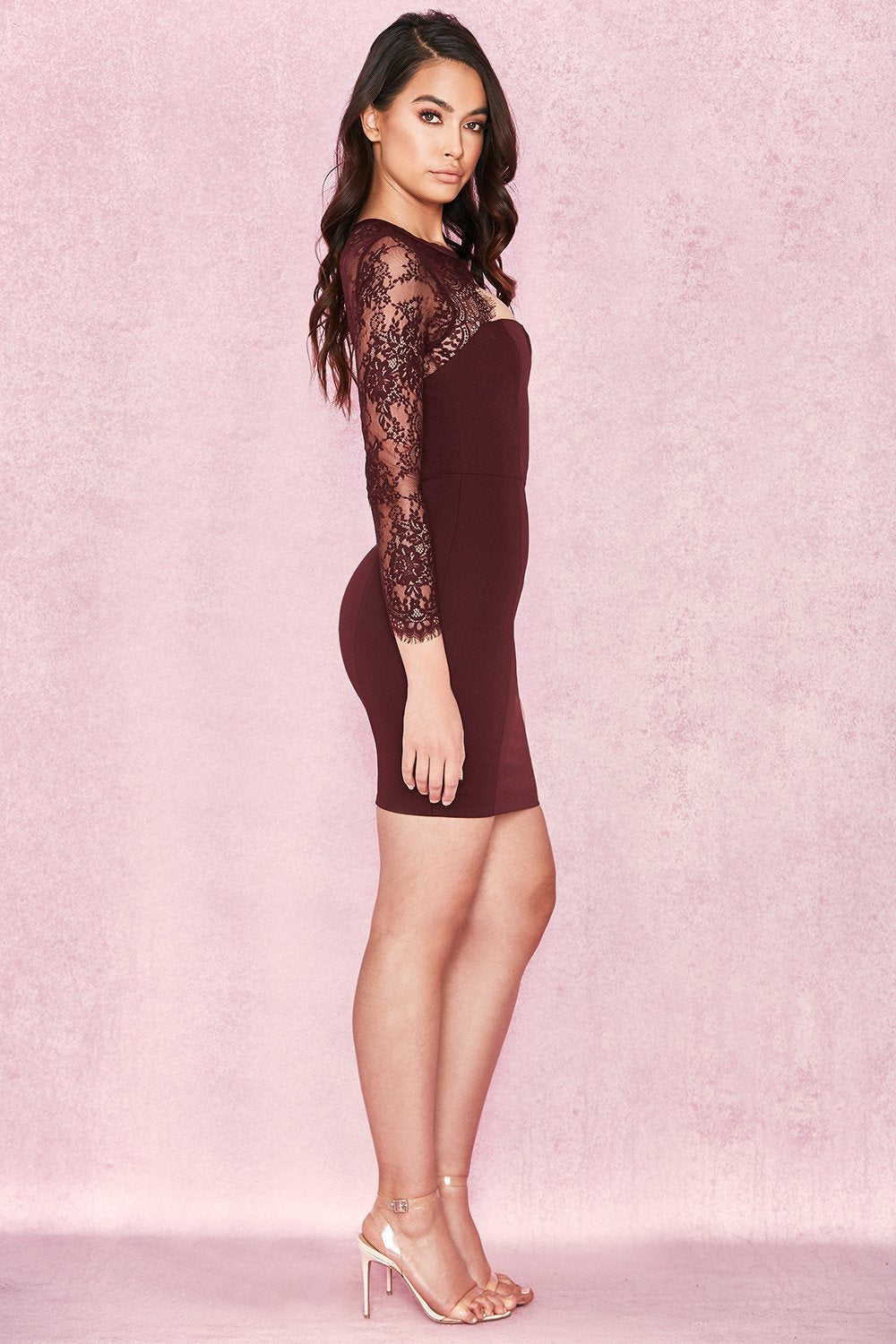 Raisin Stretch Crepe + Lace Mini Dress - Sale