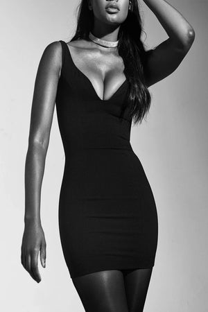 Black Crepe Deep Plunge Mini Dress - Sale