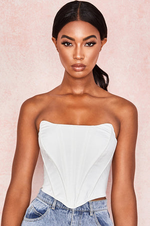 White Shaped Top Boned Corset