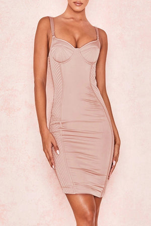 Blush Satin Quilted Corset Dress