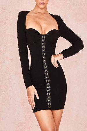 Black Long Sleeve Bodice Dress