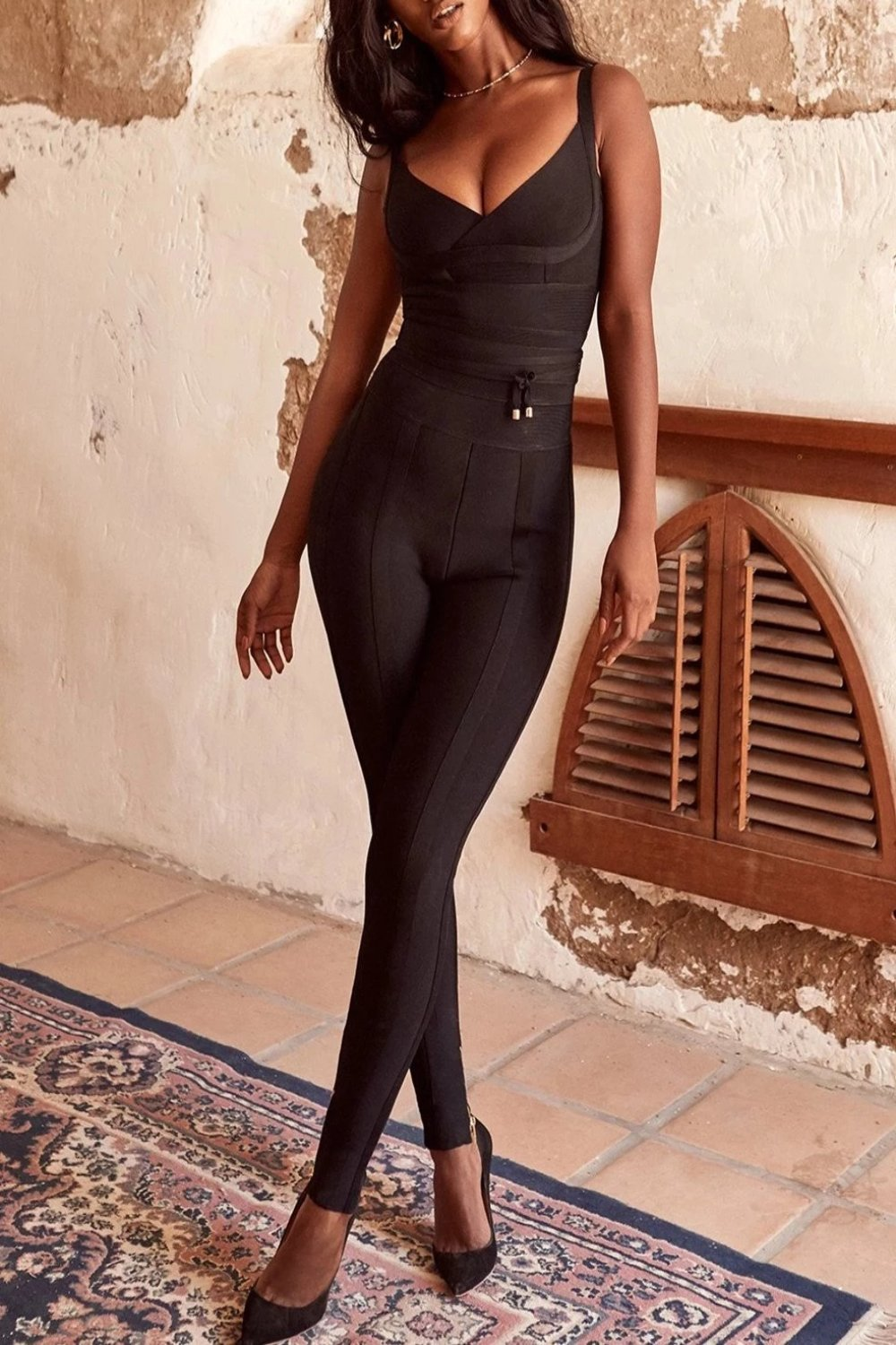 Black Bandage Waist Cinching Jumpsuit