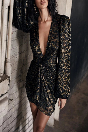 Black + Gold Plunge Dress + Briefs