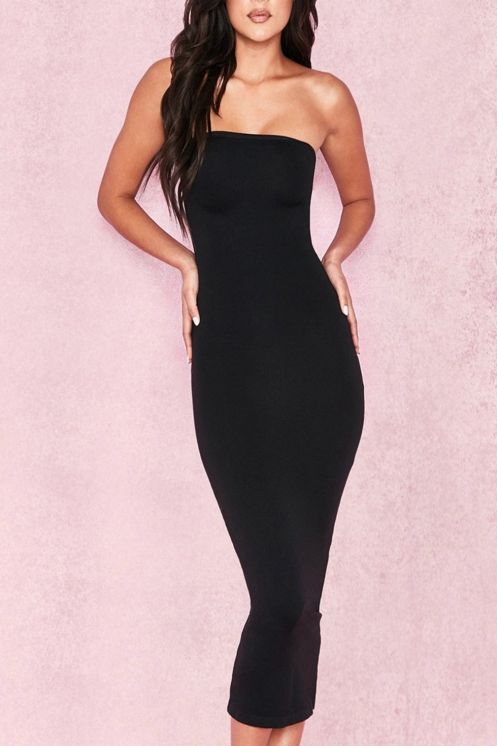 Black Strapless Seamless Knit Dress