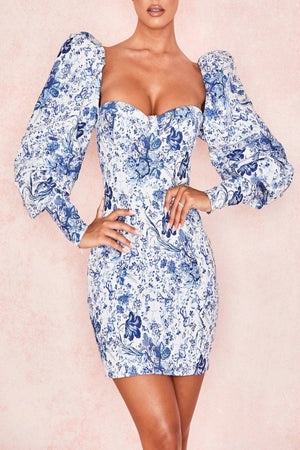 Blue + White Print Puff Sleeve Dress