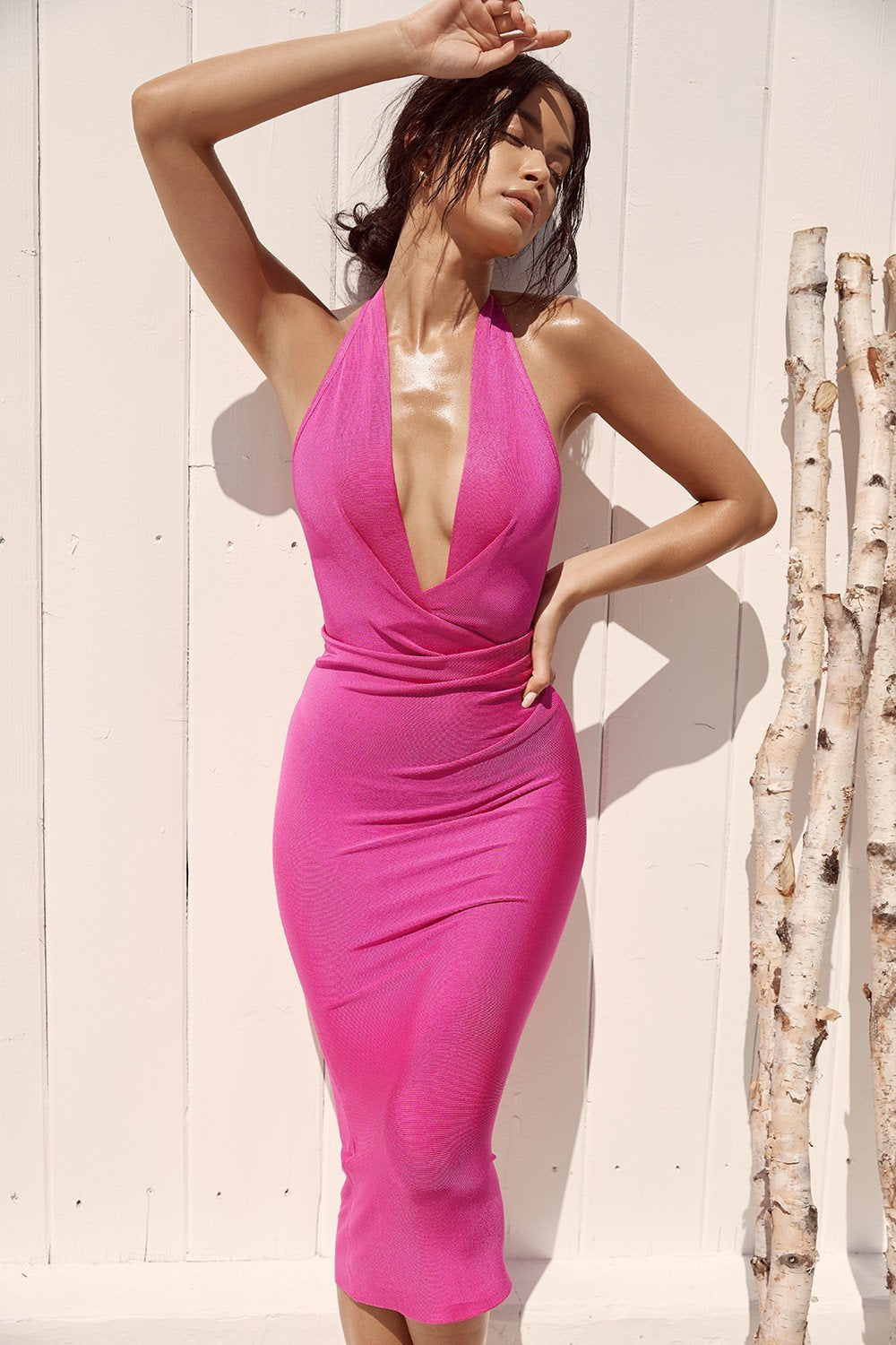 Fuchsia Bandage Drape Dress