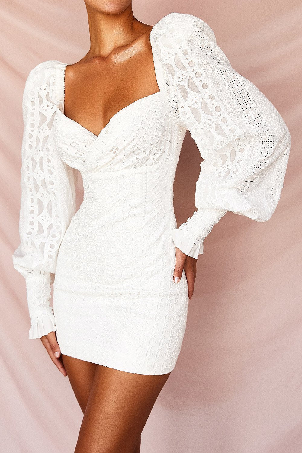 White Lace Broderie Anglais Mini Dress