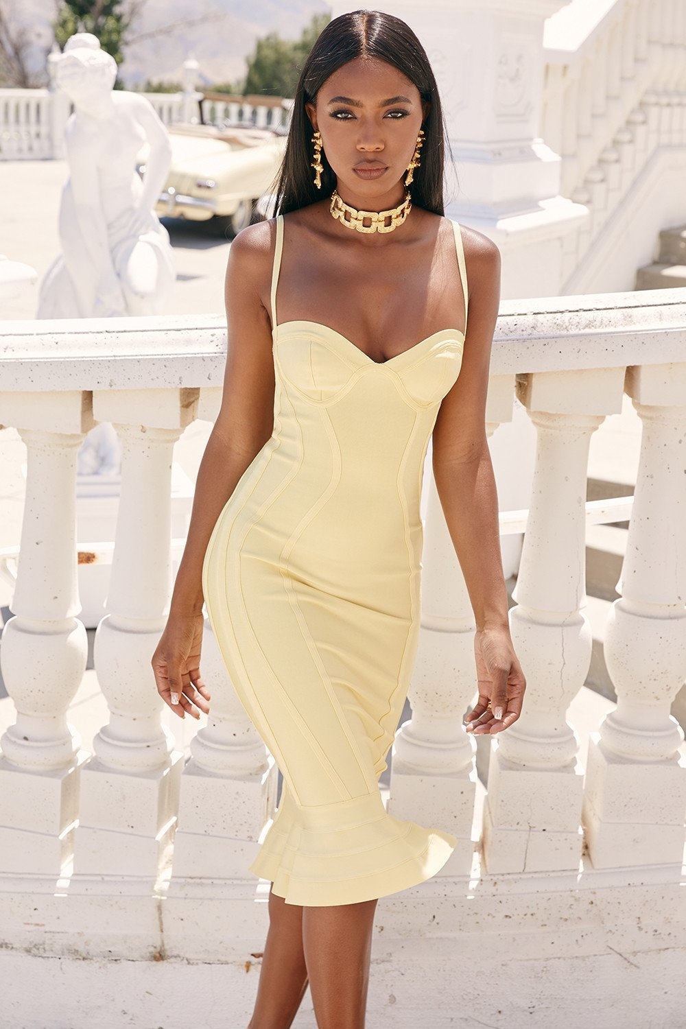 Lemon Fluted Bustier Bandage Dress