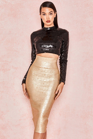 Gold Foil Bandage Super High Waisted Skirt - Sale