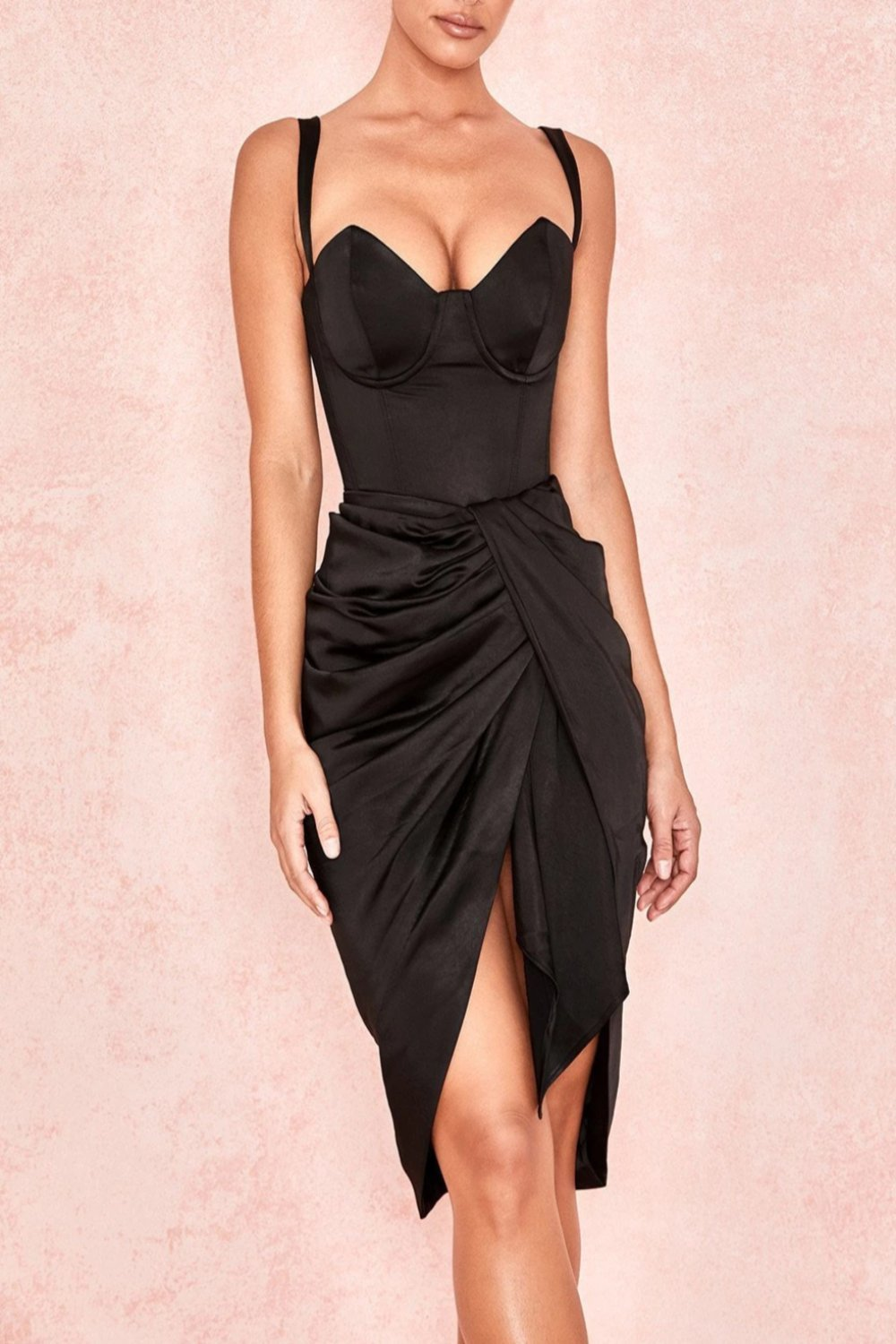 Black Silky Draped Skirt