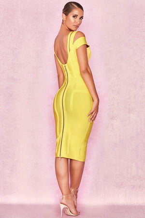 Yellow Off Shoulder Bandage Dress - Sale