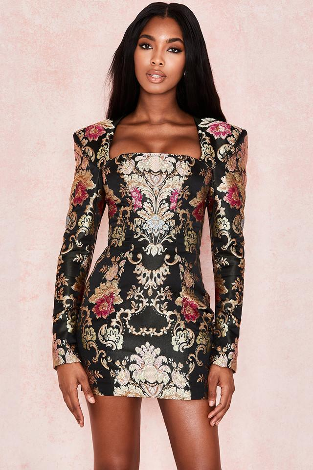 Jacquard Boned Bustier Dress