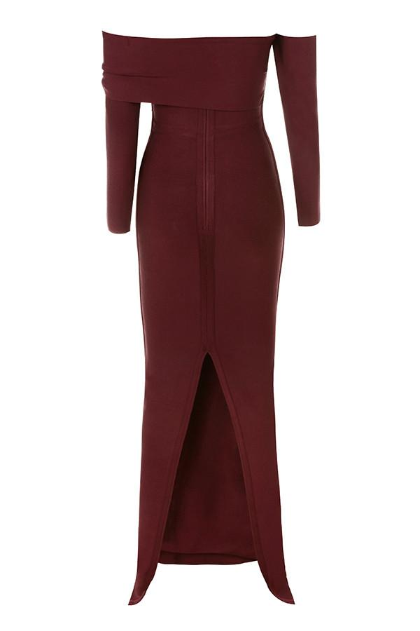 Wine Draped Shoulder Maxi Bandage Dress
