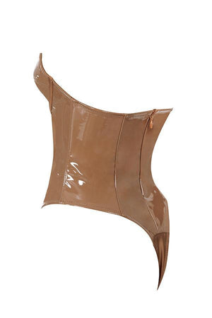Coffee Patent Vinyl Bodysuit