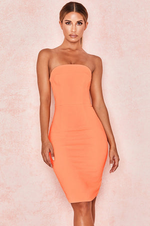 Orange Strapless Stretch Crepe Mini Dress