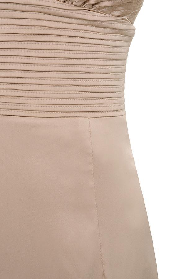 Nude Satin Pin Tuck Dress - Sale