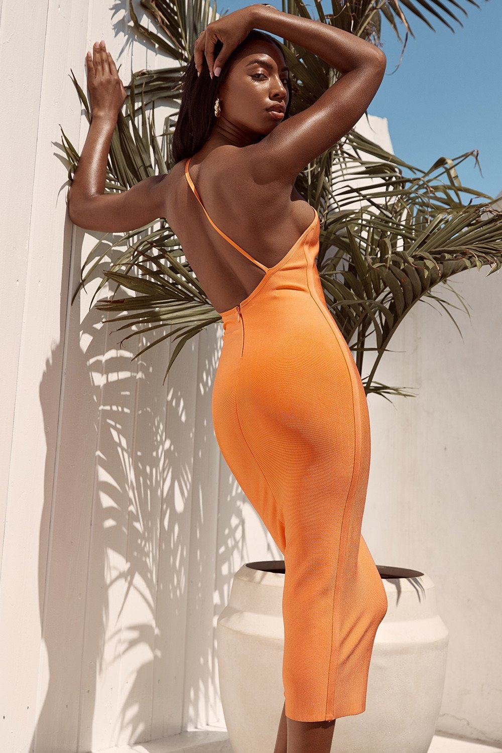 Orange One Shoulder Bandage Dress