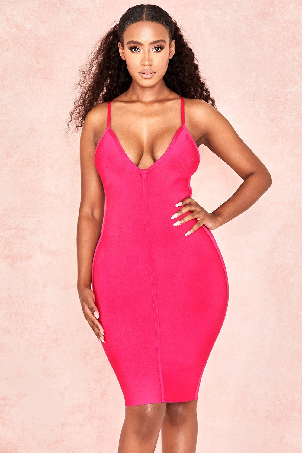Pink Deep V Bandage Dress
