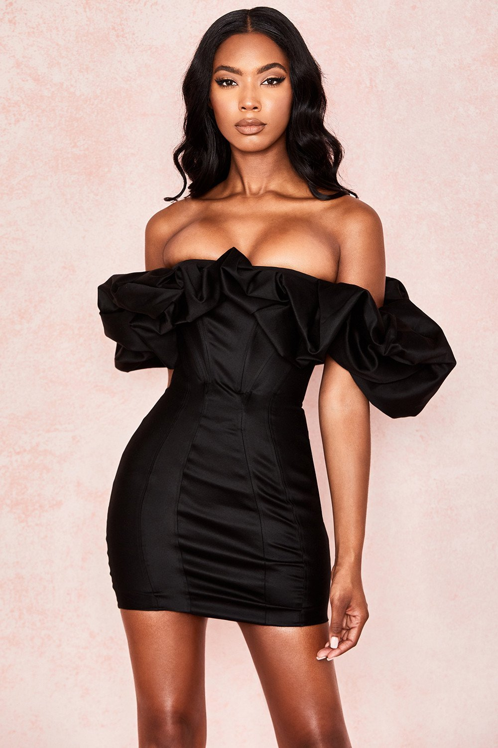 Black Satin Puff Shoulder Dress