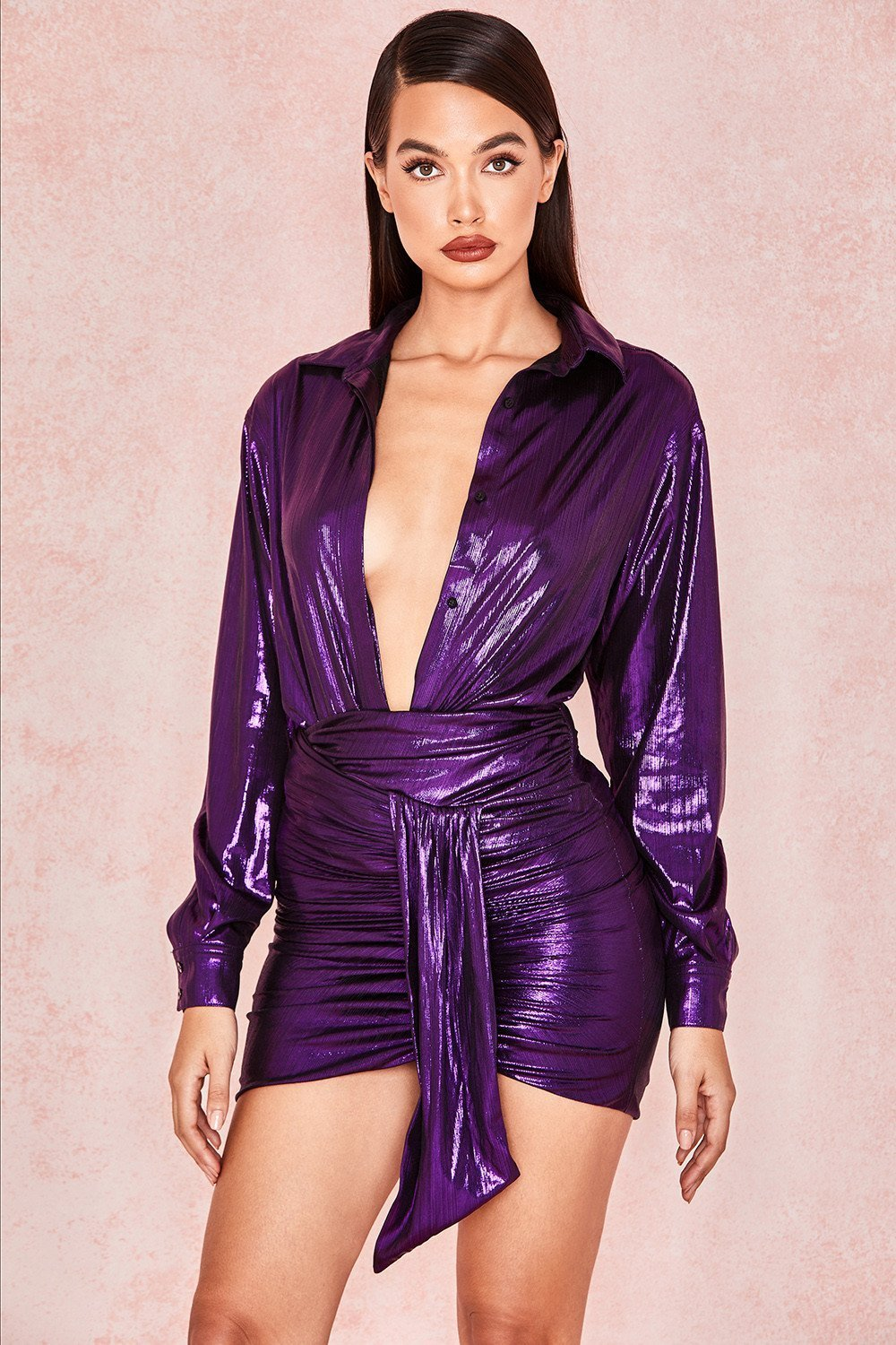 Purple Metallic Draped Mini Skirt