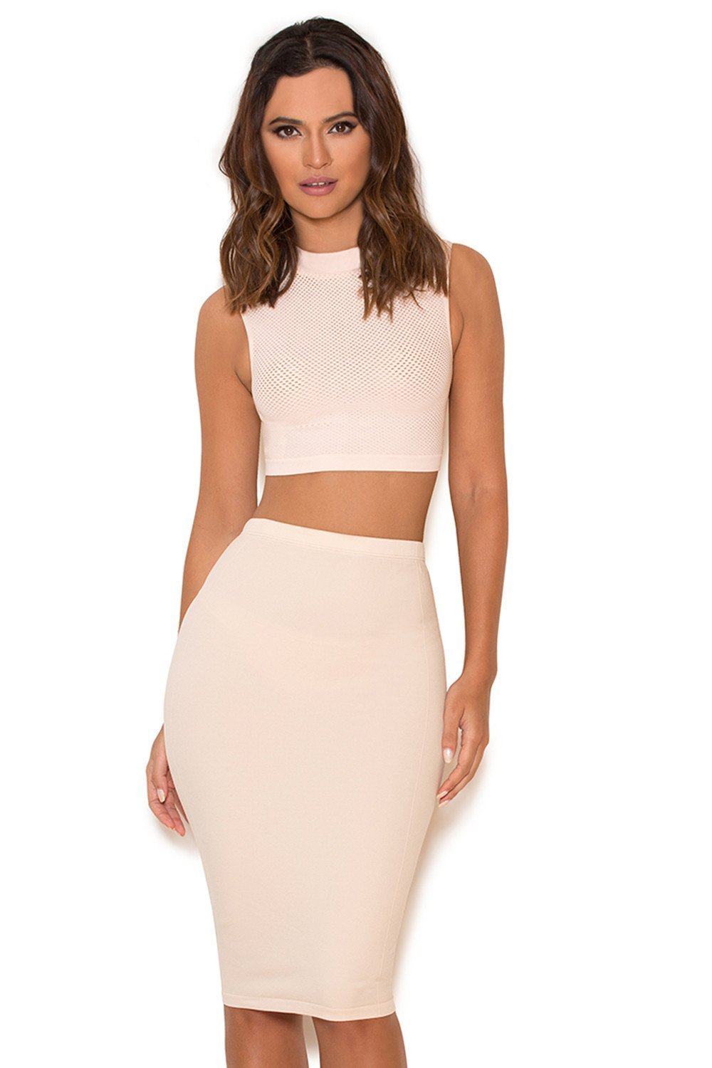 Nude Seamless Knit Pencil Skirt