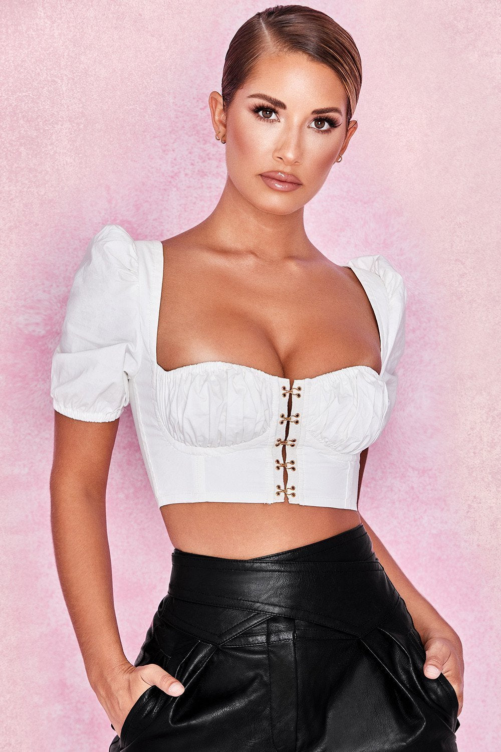 White Puff Sleeved Corset Top