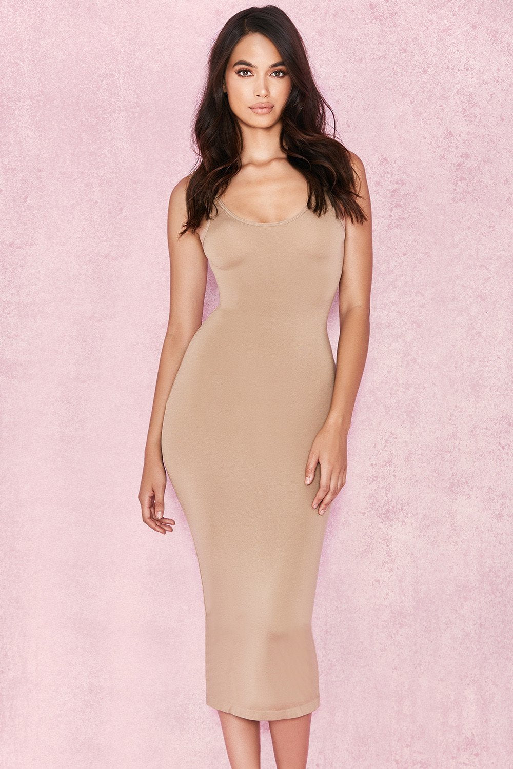 Tan Midi Length Vest Dress