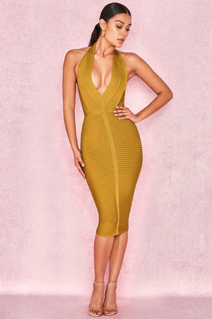 Mustard Rib Bandage Halter Dress