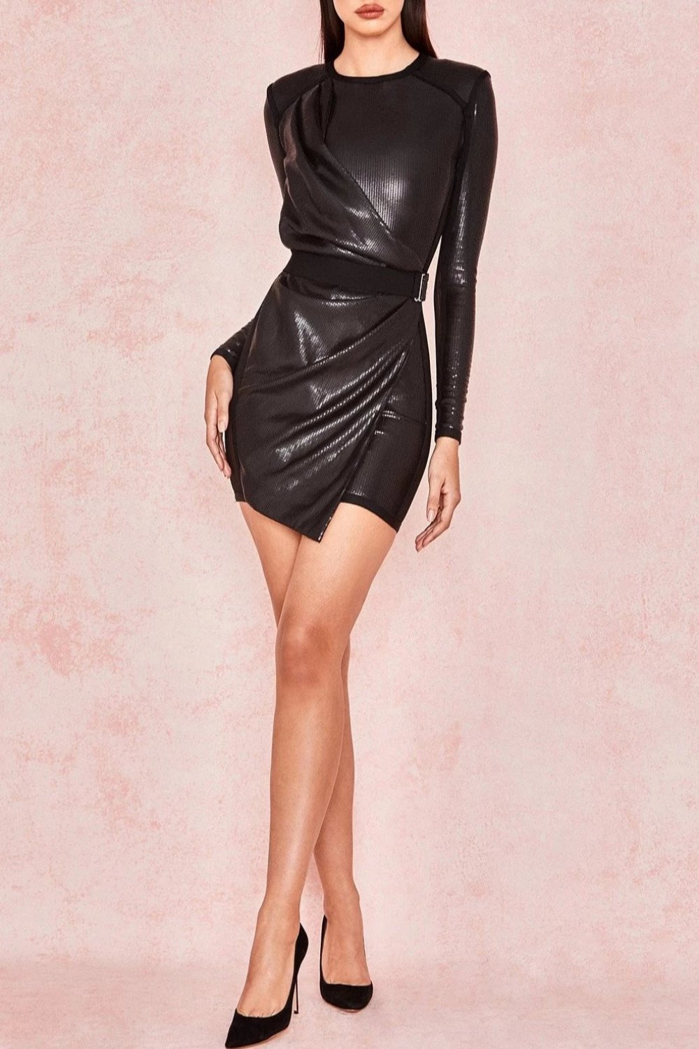 Black Matte Sequin Draped Dress