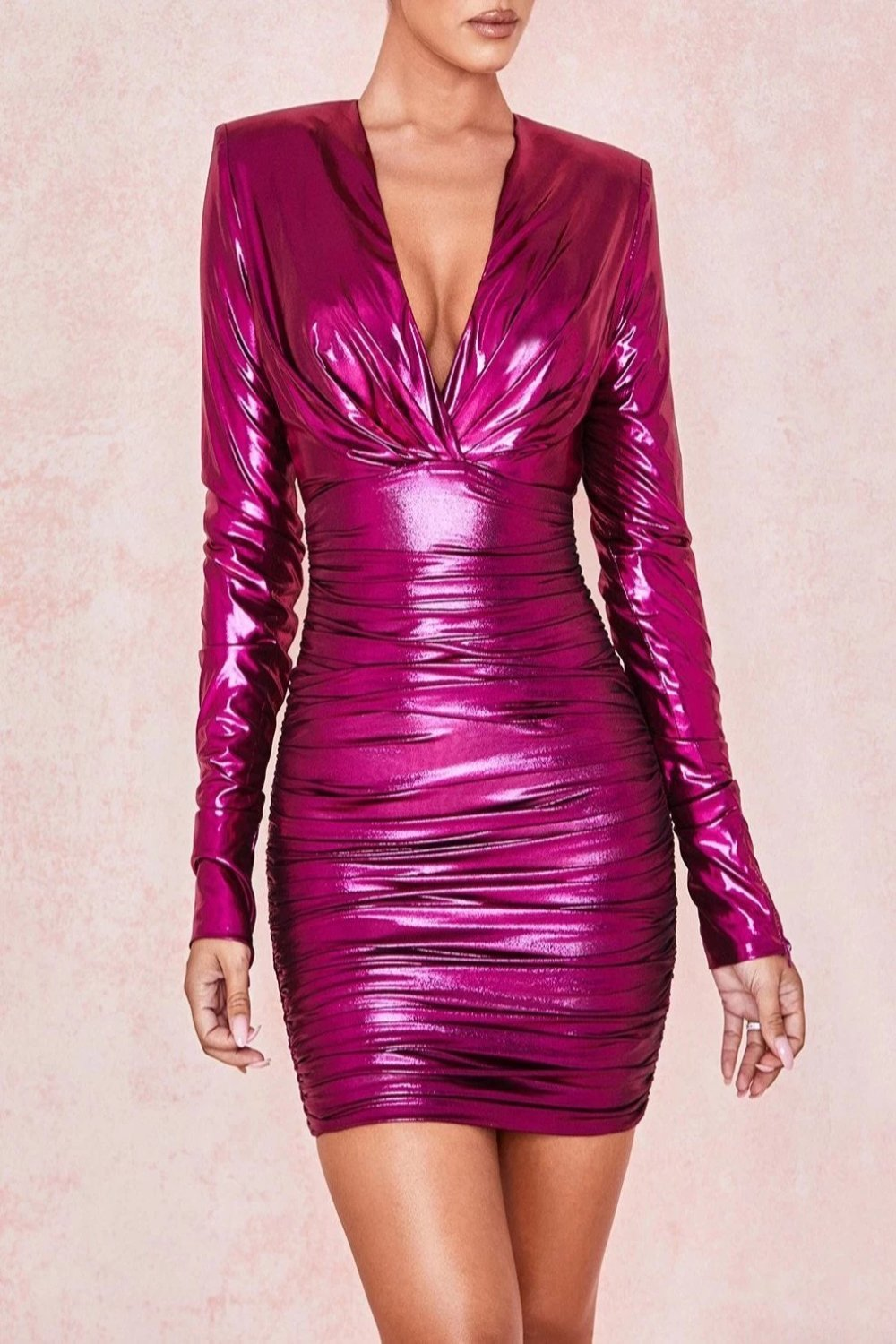 Metallic Pink Deep V Ruched Dress