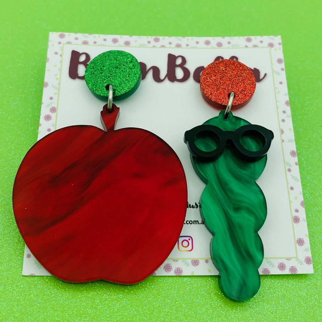Apple/worm statement earrings - BurnBella
