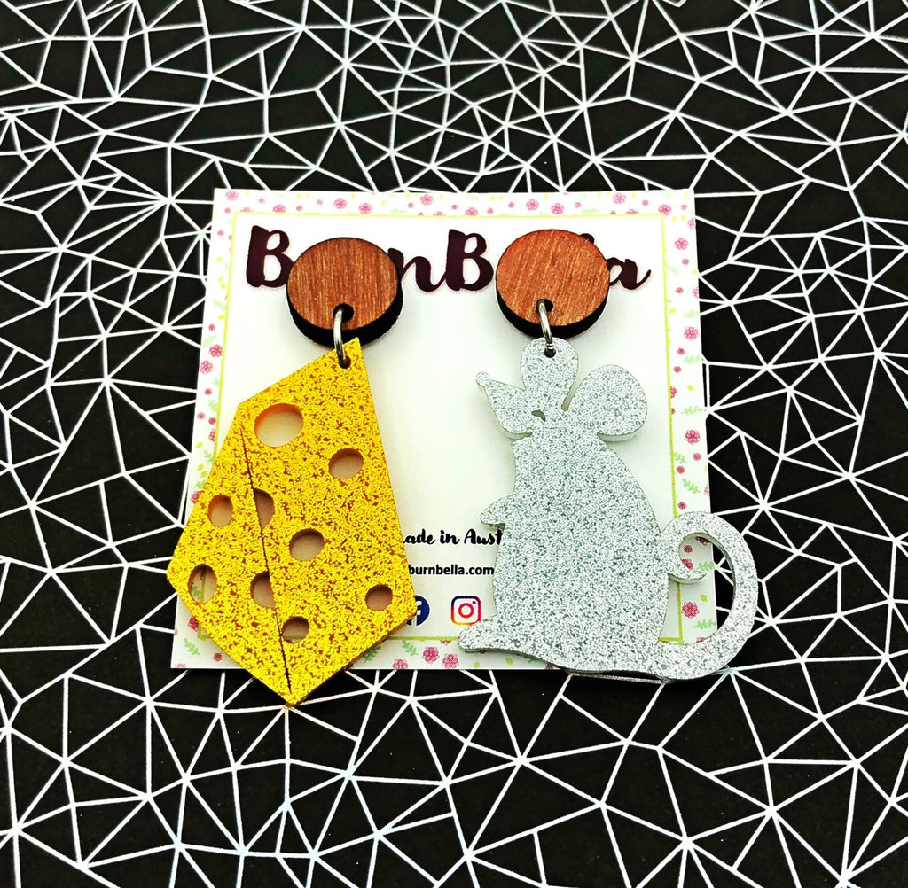 Mismatched mouse and cheese statement earrings - BurnBella