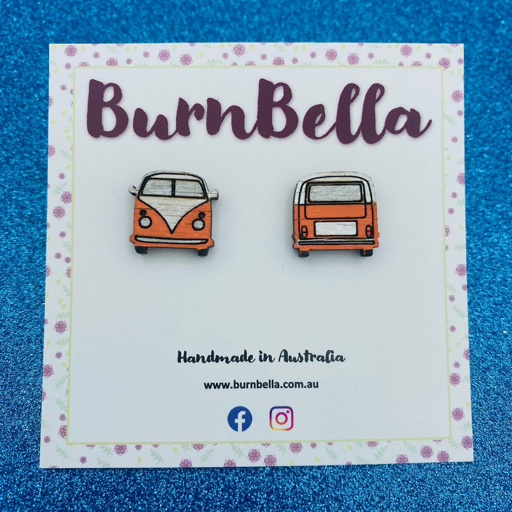 Wooden hand painted Kombi studs (orange) - BurnBella