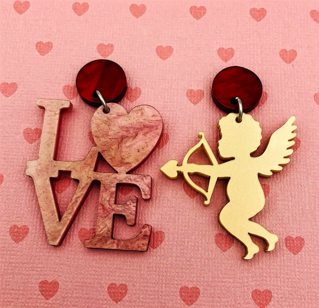 Mismatched Cupid statement earrings - BurnBella