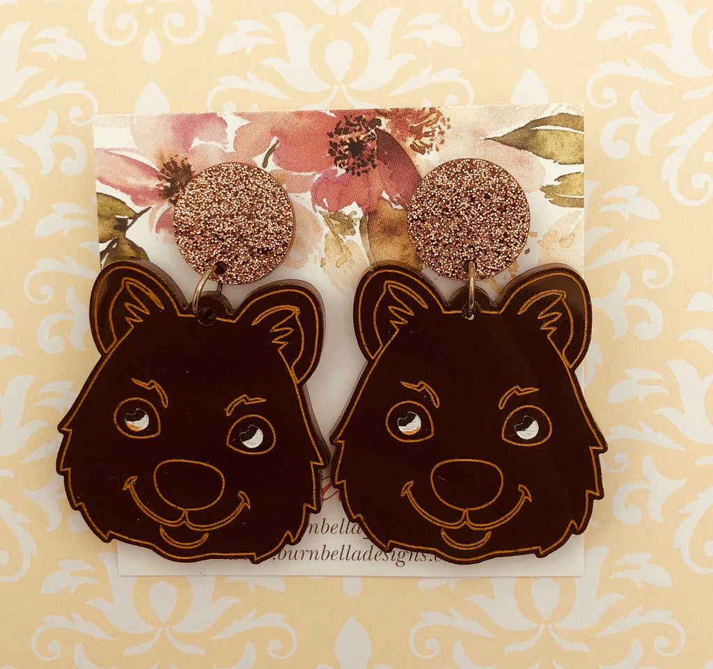 Cute quokka statement earrings - BurnBella