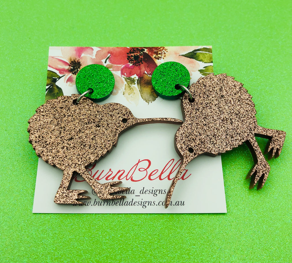 Kiwi bird statement earrings - BurnBella