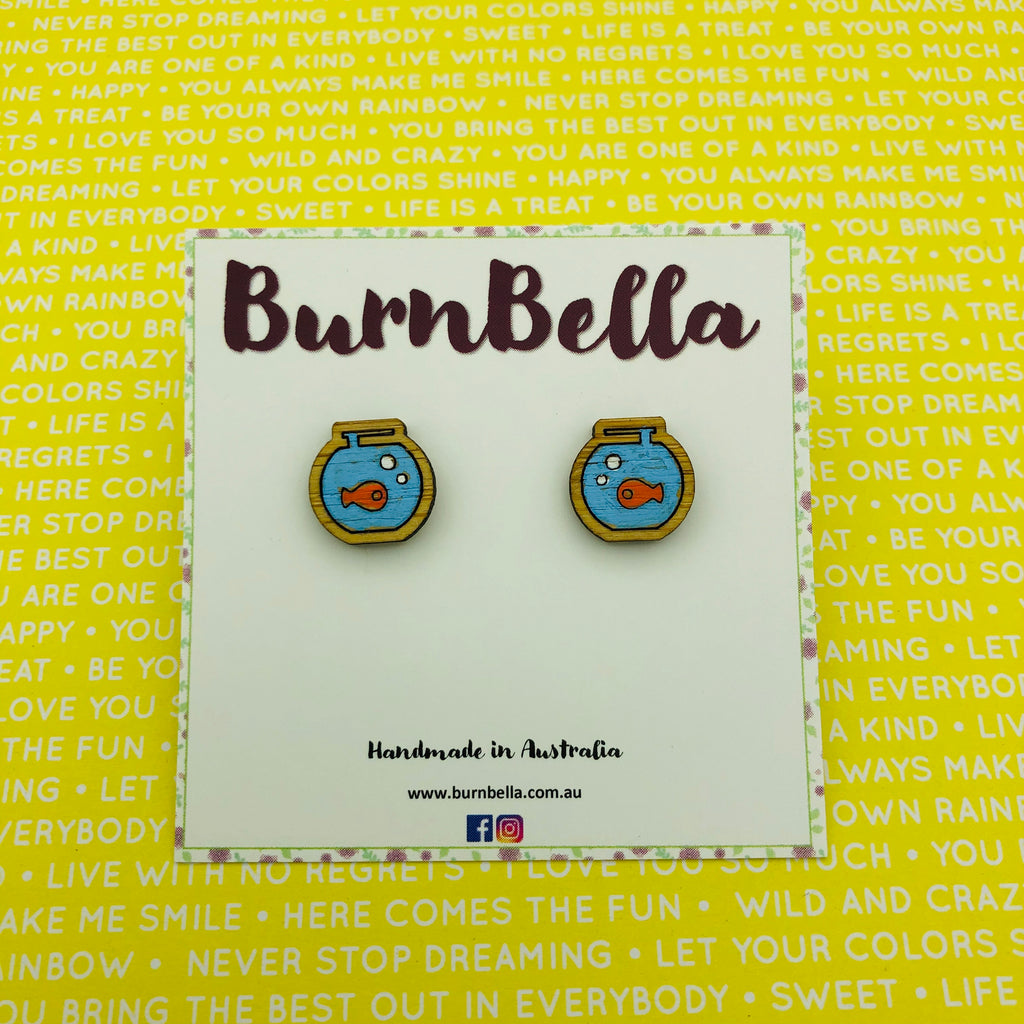 Hand painted wooden fishbowl studs - BurnBella