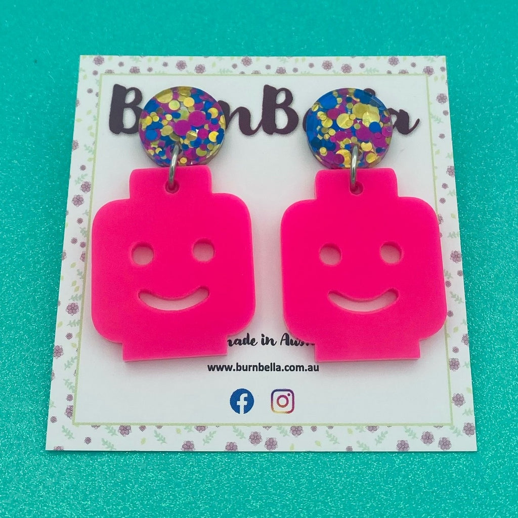 Pink Lego Earrings - BurnBella