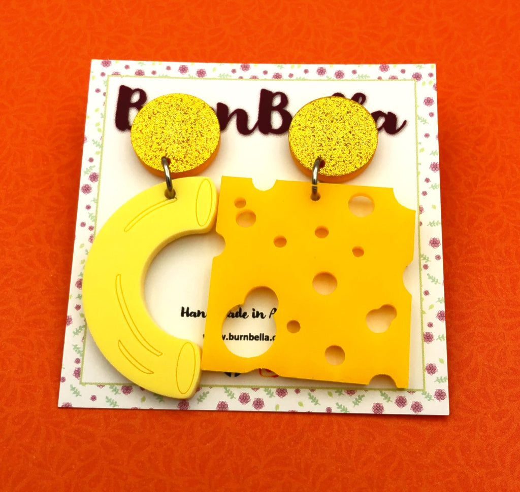 Mismatched mac n cheese statement earrings - BurnBella