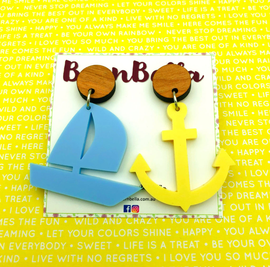 Mismatched boat and anchor earrings - BurnBella