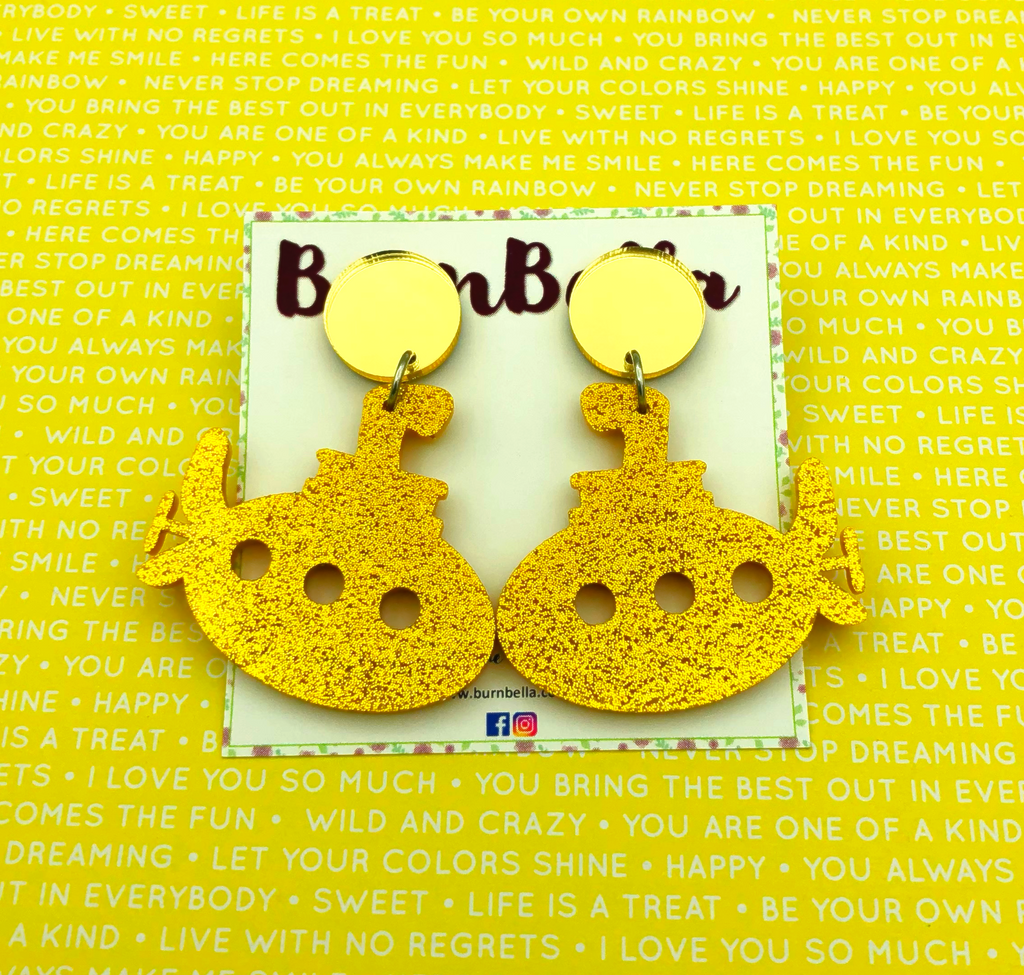 Glitter submarine statement earrings - BurnBella