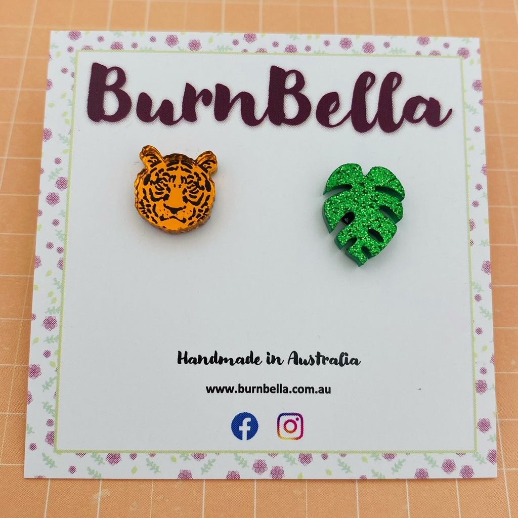 Tiger/leaf mismatched studs - BurnBella