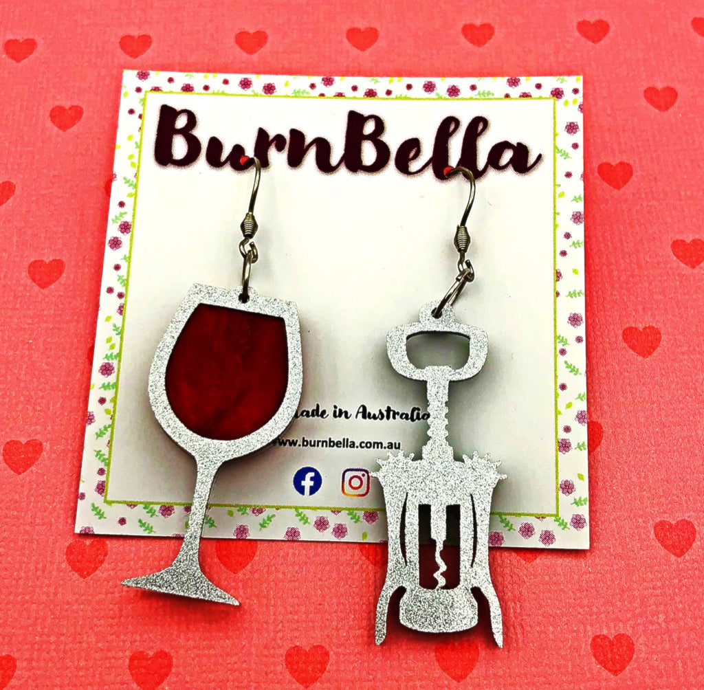Mismatched wine hook earrings - BurnBella
