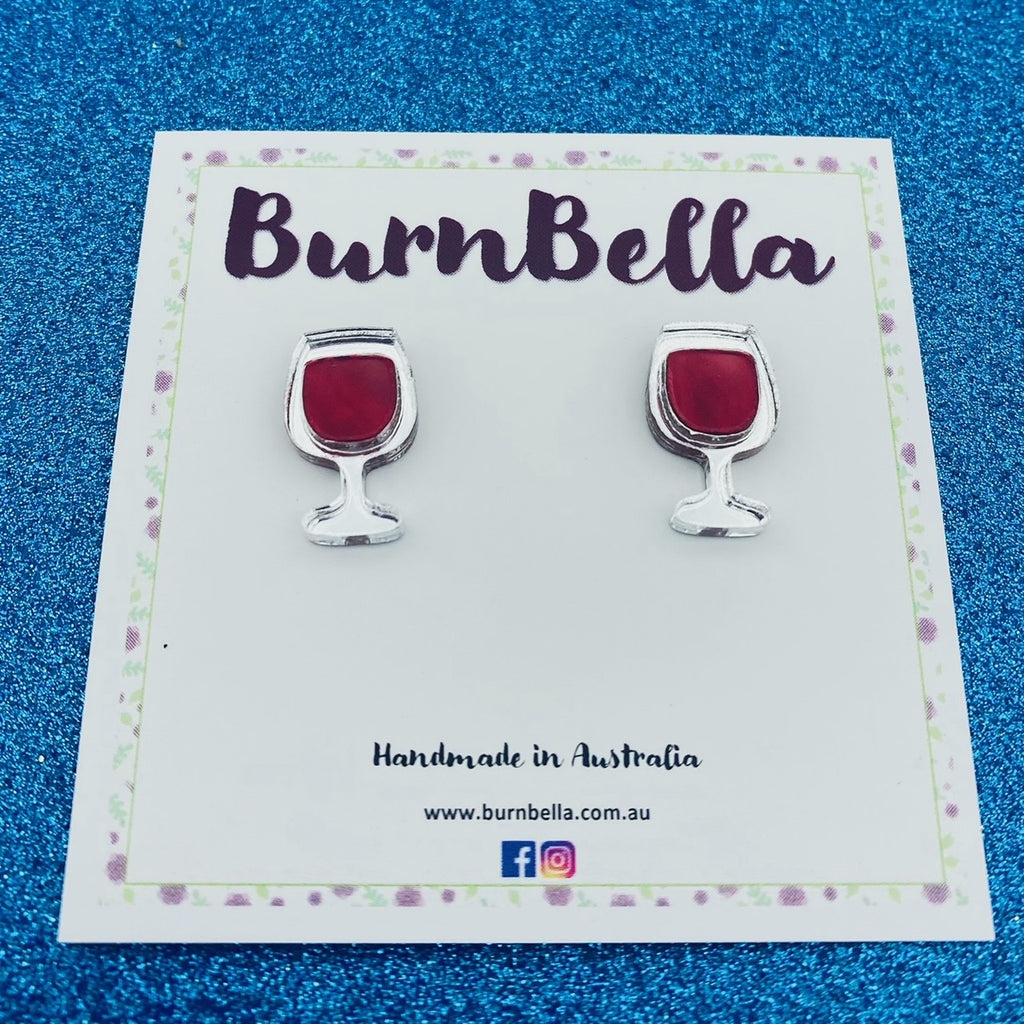 Mini wine glass studs - BurnBella