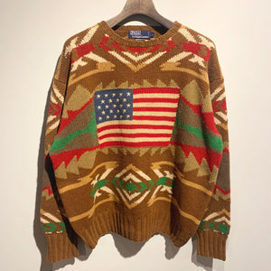 90s/RALPH LAUREN/Native Stars and Stripes Knit Sweater/ size L