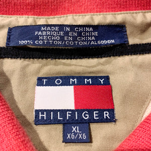 90s/TOMMY HILFIGER/L/S Harf Zip POLO SHIRT/ size XL