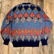 画像をギャラリービューアに読み込む, LEGERE by MCM/argyle wool knit sweater/size M/MADE IN ITALY