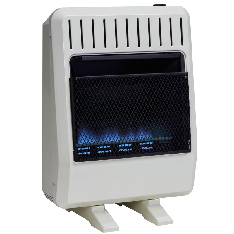 Avenger Dual Fuel Ventless Blue Flame Gas Space Heater With Blower and Base Feet - 20,000 BTU, T-Stat Control - Model