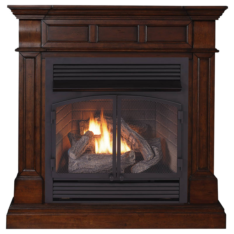 ProCom Dual Fuel Vent Free Gas Fireplace System - 32,000 BTU, Remote Control, Auburn Cherry Finish - Model